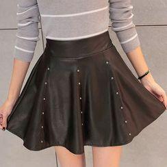 Fashion Street - Faux Leather A-Line Mini Skirt