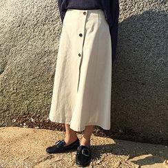 Sinbounboun - Button Down A-Line Midi Skirt
