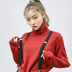 chuu - Turtle-Neck Colored Knit Top