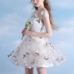 MSSBridal - Butterfly Print Cap Sleeve Mini Prom Dress