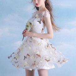 MSSBridal - Butterfly Print Cap Sleeve Mini Prom Dress
