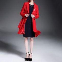 Alaroo - 刺繡雙排扣羊毛混紡大衣