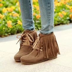 Pastel Pairs - Fringe Lace Up Ankle Boots