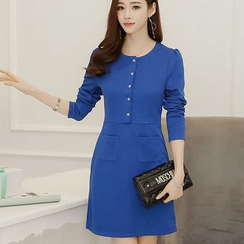 Bornite - Buttoned Long-Sleeve Shift Dress