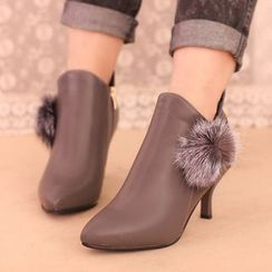 IYATO - Pompom-Accent Kitten-Heel Ankle Boots