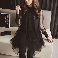 Cocofield - Long-Sleeve Lace Tiered A-Line Dress