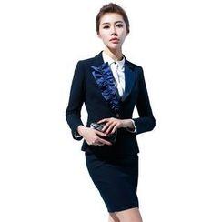 Aision - Paneled Blazer / Blouse / Skirt