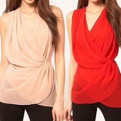 Eloqueen - Sleeveless Shirred Chiffon Top