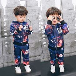 POMME - Kids Set: Galaxy Print Hooded Zip Jacket + Pants