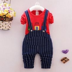 POMME - 童裝套裝: 印花長袖T恤 + 條紋背帶牛仔褲