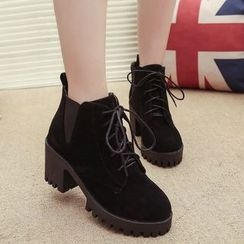 Yoflap - Lace Up Chunky Heel Ankle Boots