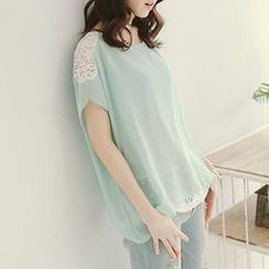 CatWorld - Lace-Panel Chiffon Top