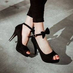 Pangmama - Bow-Accent High-Heel Sandals