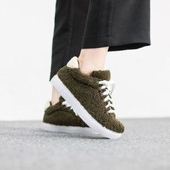 VIVIER - Lace-Up Faux-Fur Sneakers
