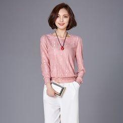 Jiuni - Long-Sleeve Lace Top
