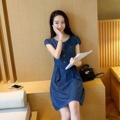BOHIN - Short-Sleeve Denim Dress