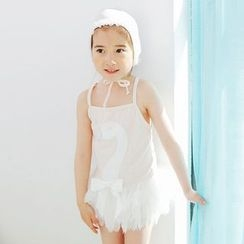 Aqua Wave - Kids Swan Print Swim Dress