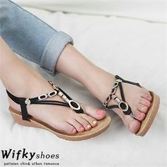 Wifky - Metal-Trim Wedge-Heel Sandals
