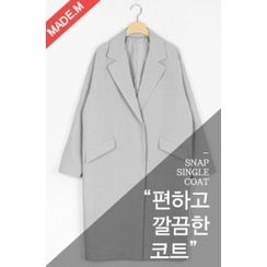 MICHYEORA - Notched-Lapel Hidden-Button Coat