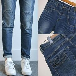 Kakyo - Knee Patch Washed Jeans
