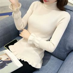 EFO - Turtleneck Rib-Knit Ruffled Top