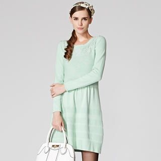 O.SA - Long-Sleeve Lace-Yoke Knit Dress