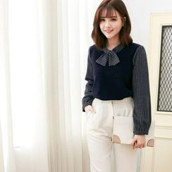Tokyo Fashion - Tie-collar Pinstriped Panel Knit Top