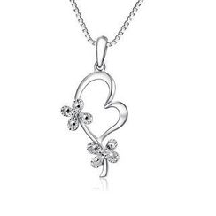 MaBelle - 14K/585 White Gold Heart and Clover Diamond Cut Necklace