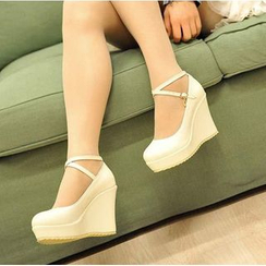 Pastel Pairs - Cross Ankle Strap Wedge Pumps
