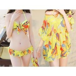 Jumei - Set: Bow Accent Floral Print Bikini + Pleated Top