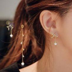 STYLEJING - Asymmetric Pearl Star Earrings