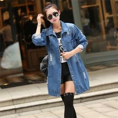 Quintess - Washed Distressed Denim Coat