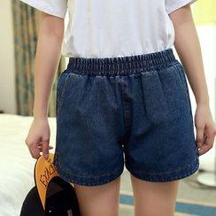 Isadora - Elastic Waist Denim Shorts