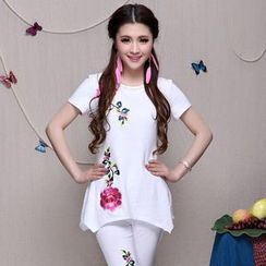 Diosa - Short-Sleeve Flower Embroidered Asymmetric T-Shirt