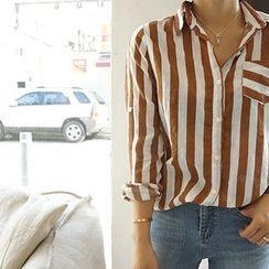 STYLEBYYAM - Pocket-Front Stripe Shirt
