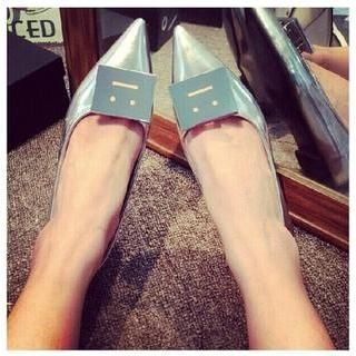 QQ Trend - Face Appliqué Pointy Flats