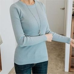 JOAMOM - Round-Neck Rib-Knit Top