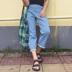 Glen Glam - Denim High-Waist Wide Leg Pants