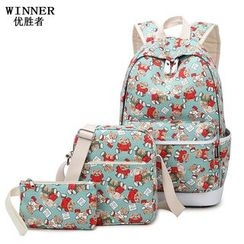 VIVA - Set: Printed Backpack + Crossbody Bag + Pouch