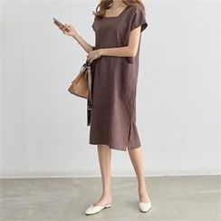 PIPPIN - Square-Neck Short-Sleeve Linen Midi Dress