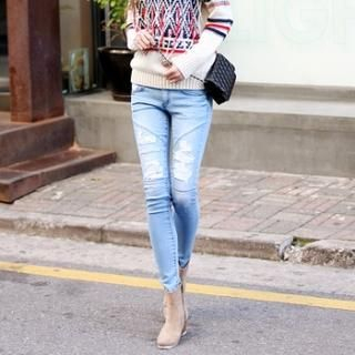 Koo - Distressed Skinny Jeans