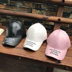Hats 'n' Tales - Lettering Metal Rings Faux Leather Baseball Cap