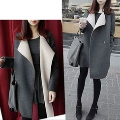 Mandalle - Two-tone Zip Knit Coat