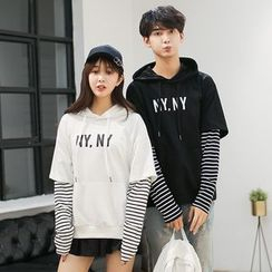Azure - Couple Matching Striped Panel Lettering Hoodie