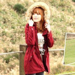 Tokyo Fashion - Faux Fur-Trim Hooded Drawcord Parka
