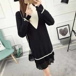 Loytio - Chiffon Panel Mock-neck Knit Dress