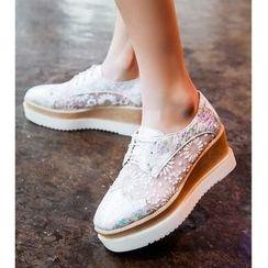 Freesia - Lace Trim Platform Shoes