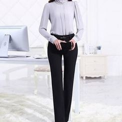 Caroe - Set: Embellished Chiffon Blouse + Dress Pants
