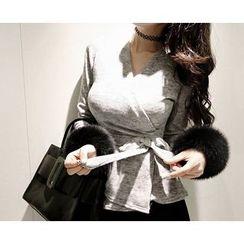 Marlangrouge - Tie-Waist Peplum Wrap Top