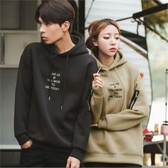 Superstar.i - Couple Hooded Lettering Neoprene Pullover